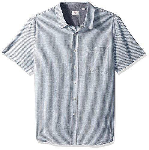 AG Adriano Goldschmied Herren Nash Short Sleeve Hemd mit Button-Down-Kragen, Mosaik blau/Natur Doppelstreifen, X-Groß