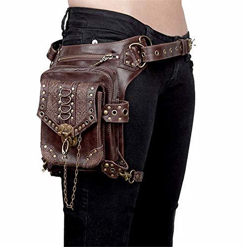Jxth Bolsa de Viaje Fanny Pack Gothic Rock PU Cuero Steampunk Bolso Bolso Paquete de la Vendimia Punk Hombro Messenger Bag Mensajero Cintura para Hombres Mujeres