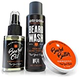 Essential Beard Grooming Kit for Men – USA Made Gift Set Soothes Irritated, Dry Skin, Reduces Acne & Grows Your Beard Faster – Beard Oil, Balm Conditioner & Shampoo Wash
