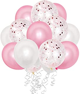 50 Pieces 12 Inches Pink and White Latex Party Balloons Pink Confetti Balloons Helium Balloons with 2 Curling Ribbons for Baby Bridal Shower,Birthday, Wedding, Proposal Party Decorations, Colorful
