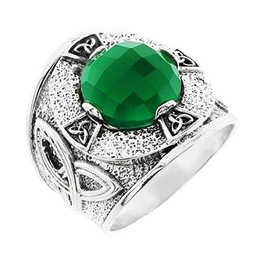 Kleine Schätze - Herren Ring / Verlobungsring / partnerring 925 Sterling Silber keltisch Knote Ring mit grün Agate