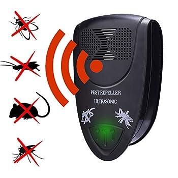 Répulsif électronique ultrasonique antiparasitaire Répulsif ultrasonique antiparasitaire contre les moustiques, les cafards, les souris, les rongeurs, les araignées, les mouches,Noir,1 piece