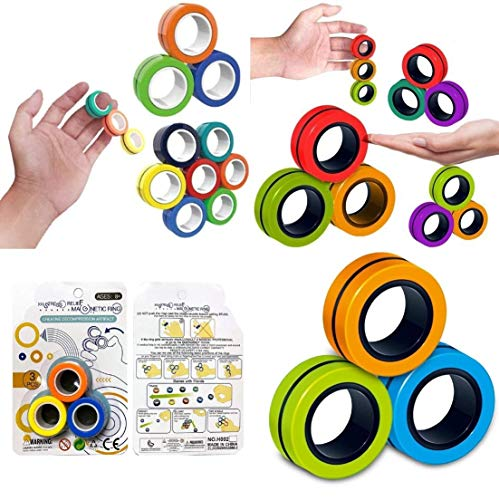 SHATCHI 3Pcs Magnetic Ring Fidget Spinner Bracelet Toy, Relief Anti-Stress Finger Spinning Assorted Colours Props