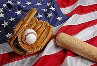 GooEoo スポーツテーマ背景野球ミット野球コウモリアメリカ国旗リアリズム10×6.5フィート写真スタジオの小道具野球趣味スポーツグラマー写真背景