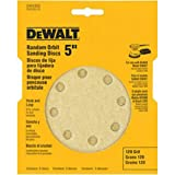 DEWALT DW4303 5-Inch 8-Hole 120-Grit Hook-and-Loop Random Orbit Sandpaper, 5-Pack