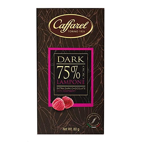 Caffarel Dark Tavoletta Cioccolato Extra Fondente 75% e Lampone, 80g