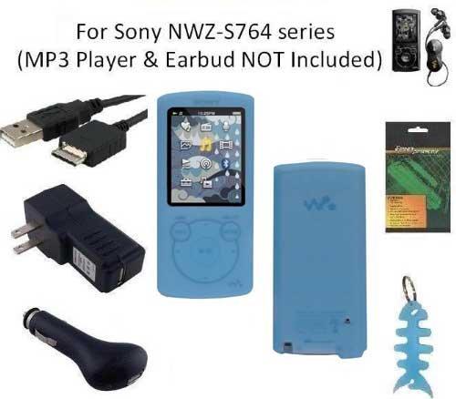 6 Items Accessories Bundle Kit for Sony Walkman NWZ-S764 MP3 Player, Blue