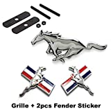 BENZEE 3pcs Sets AM103 Mustang Running Horse Front Grille + Fender Side Sticker Car Emblem Badge For Ford Mustang Shelby