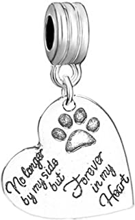 Pet Memorial Charm No Longer by My Side but Forever in My Heart European Spacer Dangling Compatible Charm