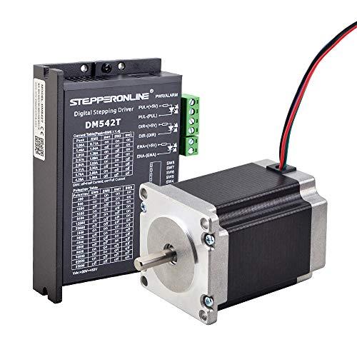 STEPPERONLINE 1 eje de motor paso a paso CNC Kit 1,9 Nm 2,8 A Nema 23 motor paso a paso y motor paso a paso 1,0 – 4,2 A 20 – 50 VDC para máquina de grabado CNC, impresora 3D