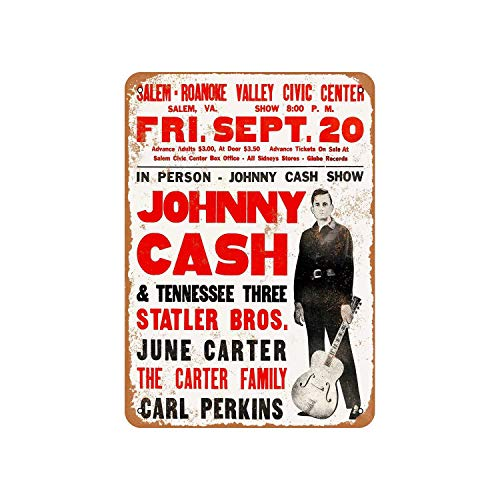Johnny Cash In Virginia Vintage Aluminum Metal Signs Tin Plaques Wall Poster for Garage Man Cave Cafee Bar Pub Club Shop Outdoor Home Decoration 12