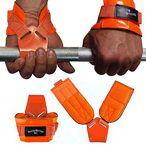 Fitnessexpress24 1 Paar Zughilfen orange Klimmzughaken Latzughilfen Griffhilfen
