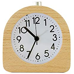 Solid Wood Analog Alarm Clock with Sweep Movement for Bedroom,Battery-Operated Non-Ticking Clock with Snooze Button and Night Light,Half Round,Light Brown