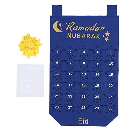 Ramadan-Kalender, Kalender-Countdown-Hängetasche, strenge Qualitätskontrolle Langlebig, umweltfreundlich, ungiftig für die Inneneinrichtung Wand(blue)