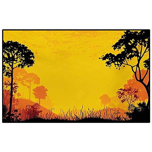 Woodland Bedroom Rugs Patio Rug Rug pad Woodland at Sunset Silhouette of Hills Forest Trees Grass Landscape Nature Art Floor mat for Office Chair Carpet Yellow Black 6 x 7 Ft