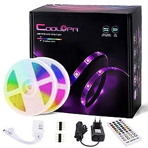 10M Tira LED, COOLAPA Tiras LED RGB 5050 12V con 300 LEDs, Impermeable 65, Iluminación de ambiente, Sync con Música, Control Remoto de 40 Teclas para Decoración de Casa, Jardín, Fiesta, etc.