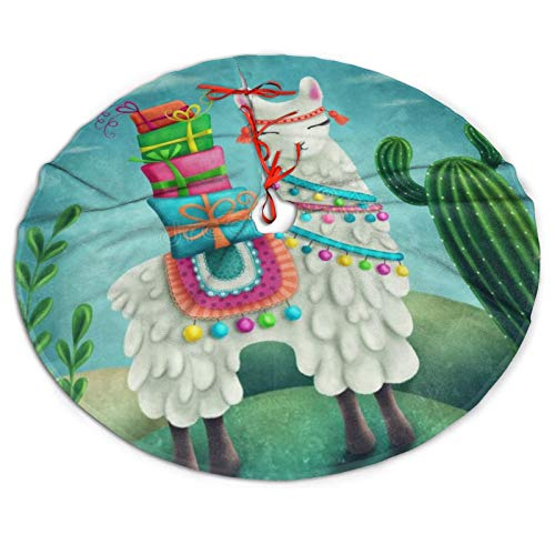 NiWCGP Cute Llama Cactus Desert Christmas Tree Skirt, 36 Inches Tree Skirts for Party Holiday Decorations Xmas Tree Mat Ornaments Indoor Outdoor