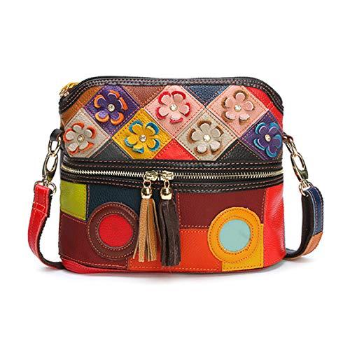 OB OURBAG Bolso Crossbody de Moda, Bolso de Cuero de Mujer Vintage Bolso de Hombro Bolso de Playa para Mujer Vistoso