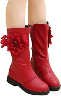 Hopscotch Girls PU Midcalf Length Boots with Side Flower Applique in Red Color