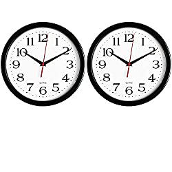 Bernhard Products Black Wall Clocks, 2 Pack Silent Non Ticking 10 Inch Quality Quartz Battery Operated Round Easy to Read Home/Office/School Clock