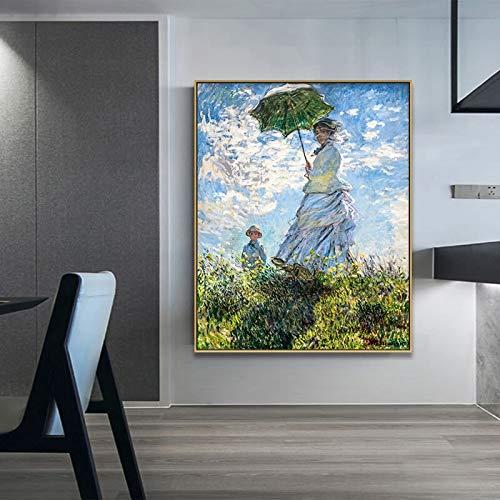 N / A Regenschirm Dame und die Frau ihres Sohnes durch Klassische Kunst Leinwand Wandbild Poster Home Dekoration rahmenlose Malerei 40cmX50cm