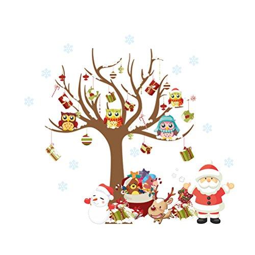 WINOMO Adesivi Murales Natale, Natale Vetrofanie Rimovibile Adesivi Murali Fai da te Finestra...