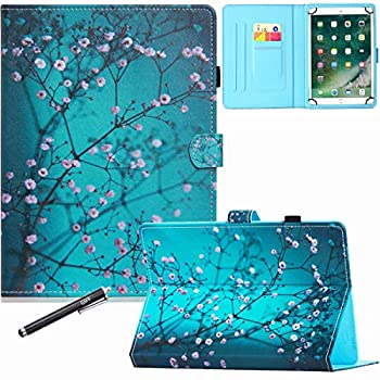 8 Inch Universal Case GSFY Pretty Folio Stand Protective Case Leather Pocket Cover with Stylus Holder for iPad Mini/Samsung/Kindle/Huawei/Lenovo/Nook 7.9 8.0 8.4 Inch Tablet - Apricot Blossom