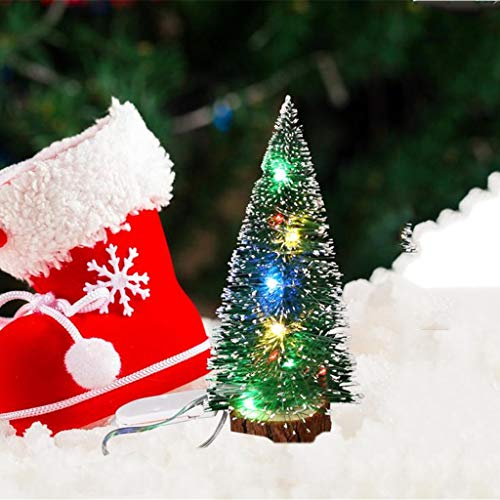 Tabletop Mini Christmas Tree with LED Lights, Artificial Mini Christmas Tree Small Pine Tree Decor Christmas Tree for DIY Halloween Christmas Ornaments Decorations (S)