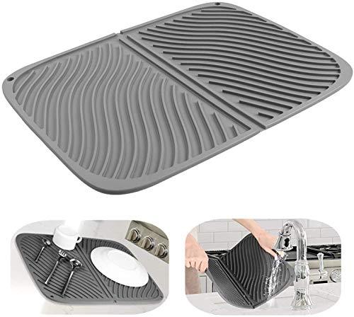 Alfombrilla de silicona para secar platos, Alfombrilla de drenaje grande, Alfombrilla resistente al calor, Salvamanteles apto para lavavajillas 17''X13 '' (gris)
