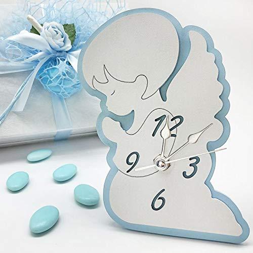 Ingrosso e Risparmio Reloj de mesa con forma de ángel blanco y celeste de madera, ideal para bautizo, comunión o niño, con caja de regalo (con caja blanca)