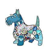 DUOWEI Metal Enamel Rhinestone Scottish Dog Brooches Lovely Pet Pin Clothes Scarf Accessories Women Girl Jewelry Gift (Blue)