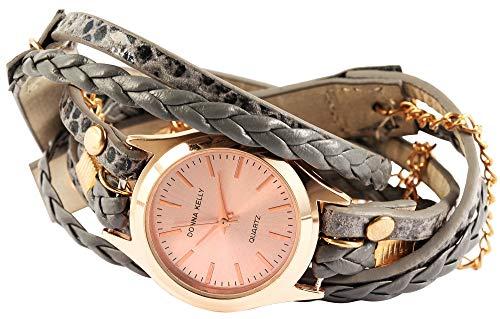 Damenuhr Rosègold Grau Analog Wickelarmband Leder Armbanduhr