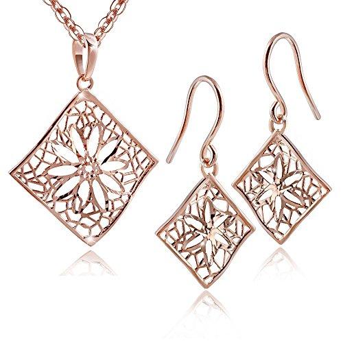 Materia - Juego de joyas para mujer de plata 925 ARIANNA de oro rosa con pendientes + cadena de 45 cm