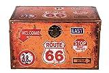 Truhe Kiste KD 1049 Route 66, Reisekofferoptik, Reise, England, Weltreise, Kreuzfahrt, Holztruhe mit Leder bezogen im Vintage Look, Schatzkiste,Kiste, Piratenkiste, Kleinmöbel, Holzbox,
