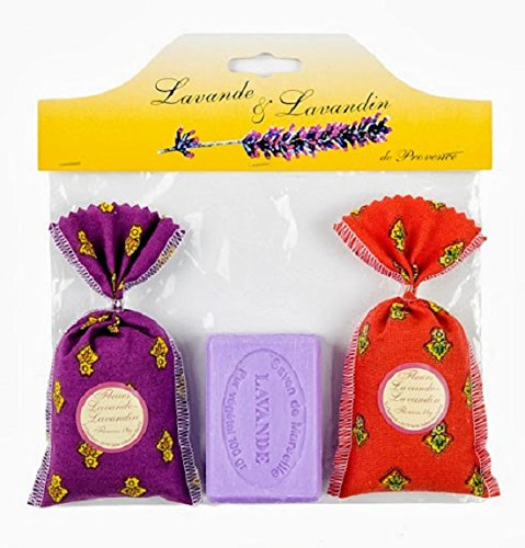 Product de Provence lavendel de Provence lavendel-zak (2 lavendelzakken in kleur + 1 marseille-zeep, rechthoekig, lavendel)
