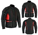 sterling sports - chaqueta impermeable para moto con protección ce, color negro/gris, negro/rojo, negro y rojo