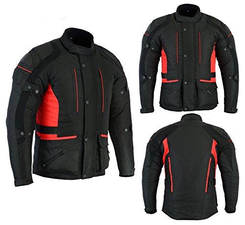 Sterling Sports Chaqueta de moto para hombre, color negro/gris/negro/rojo,...