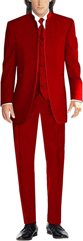 Profan Men's 3 Pieces Stand Collar Suits Tuxedo Wedding Suits