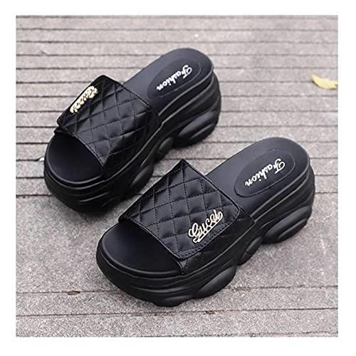 DZQQ Plate-Forme Pantoufles Hautes Femmes Bout Ouvert Sandales compensées été Pantoufle Douce intérieure Loisirs de Plein air Chaussures de Plage Noir/Blanc/Jaune