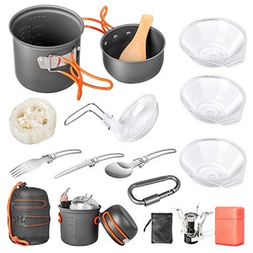 Camping Cookware SetUltralight Portable Mini Canister Stove for Outdoor Hiking PicnicLightweight Camp StoveNonStick Cooking Backpacking with Folding Knife and Fork Set16 Pcs