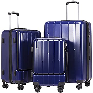 Coolife Luggage Expandable Suitcase 3 Piece Set with TSA Lock with Computer Pocket (Navy.)