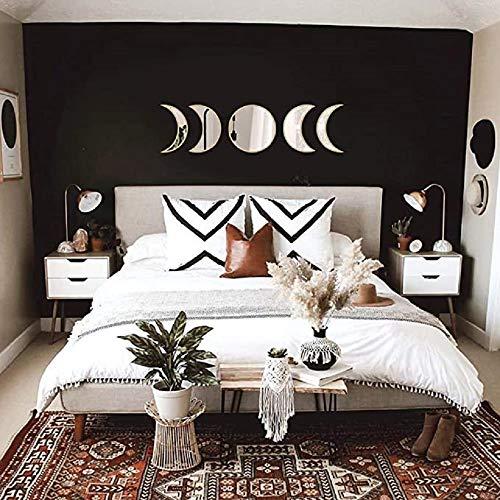 QDYL 5pcs/Set Scandinavian Natural Decor Acrylic Moon Phase Mirrors Interior Design Wooden Moon Phase Mirror Bohemian Wall Decoration for Room (Beige)