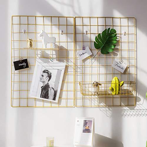GBYAN 2 Stück Wandgitter Regal Eisen Gitter Pinnwand DIY Fotowand Dekoration für Fotocollage und Postkarte, 65x45cm (Gold)