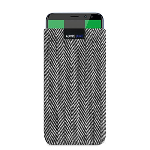 Adore June Business Tasche für Huawei Mate 10 Lite Handytasche aus charakteristischem Fischgrat Stoff - Grau/Schwarz | Schutztasche Zubehör mit Bildschirm Reinigungs-Effekt | Made in Europe