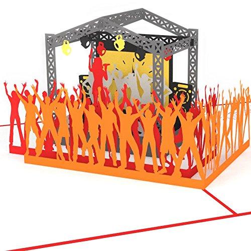 3D Karte Rock Pop Konzertgutschein mit Sängerin, Grußkarte Musik, Geburtstagskarte zum Beispiel als Gutschein für Konzert oder Festival