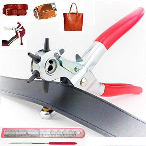 Tytroy 9' Heavy Duty 6-Size Hole Punch with 6' Ruler & Grinding Rod for Leather Belts Handbags Watch-Bands Shoe Straps Plastic Sheet and More