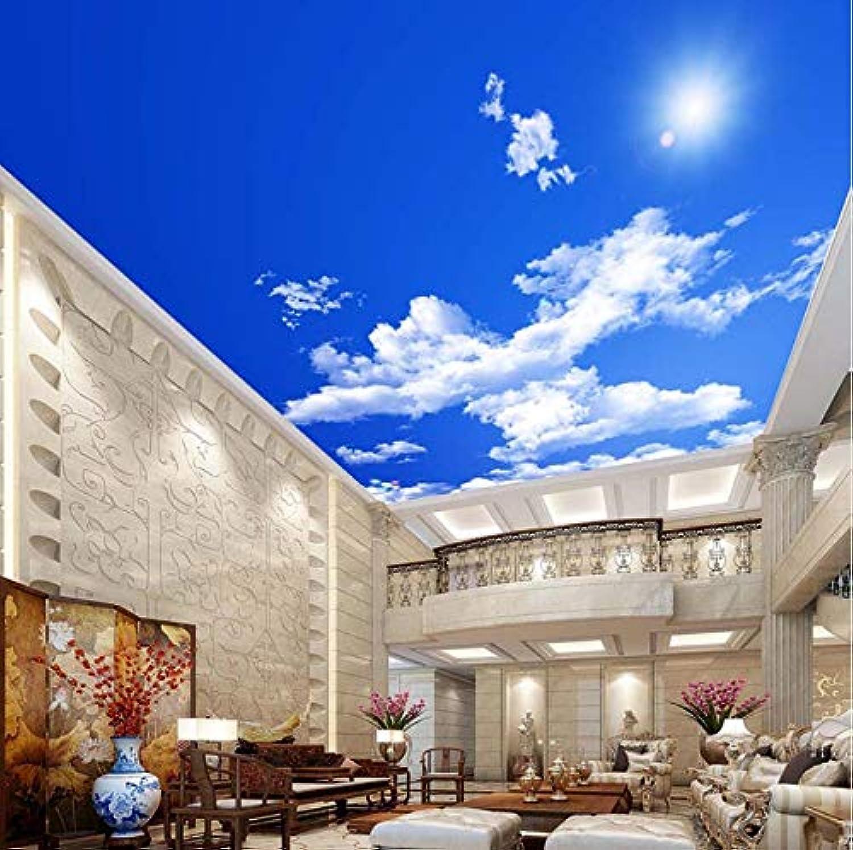 salida de fábrica Rureng Cielo Azul Nubes blancoas blancoas blancoas Sunshine Ceiling Zenith Mural Papel Tapiz Fotográfico 3D Personalizado Para La Sala De Estar Ceiling Decoration Mural Wallpaper-200X140Cm  ventas en linea