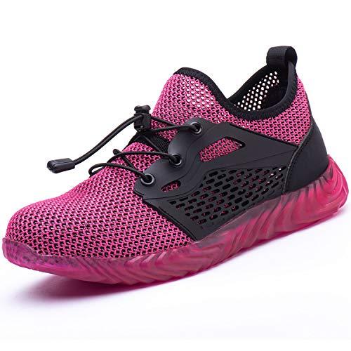 UCAYALI Zapato de Seguridad Mujer Zapatilla de Trabajo con Punta de Acero Ligero Antideslizantes Calzado Industrial Transpirable(Malla Rosado, 37 EU)
