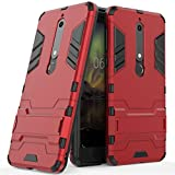 Case for Nokia 6.1 (5.5 inch) 2 in 1 Shockproof with Kickstand Feature Hybrid Dual Layer Armor Defender Protective Cover (Red)