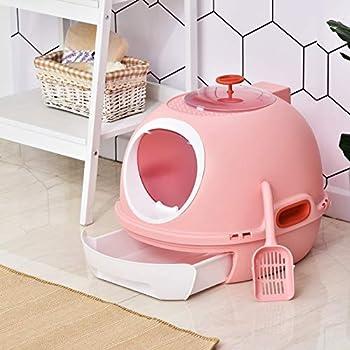 Pawhut Maison de Toilette Portable pour Chat tiroir à litière Coulissant Porte battante Lucarne + Pelle fournis dim. 47L x 55l x 44H cm Rose